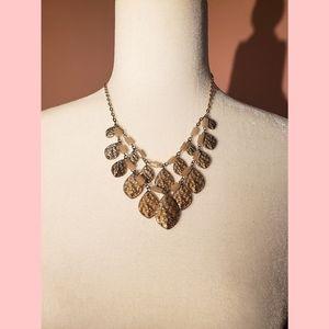 New York &Co boho gold leaf statement necklace
